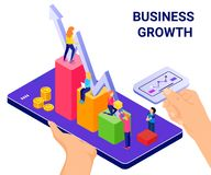 Isometric Artwork Concept technology helping the businesses to grow. Isometric Artwork Concept of Business Growth where a app is help the businesses to growth vector illustration