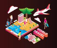 Isometric Artwork Concept Travelling to different Countries. vector illustration