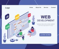 A Team of People who are Developing a Website Isometric Artwork Concept. royalty free illustration