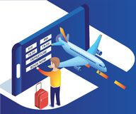 Isometric Artwork of a man booking airplane tickets online with easy and without any hassle stock illustration