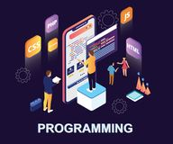 Isometric Artwork of People programming in multiple languages to make a mobile apps and website. stock illustration