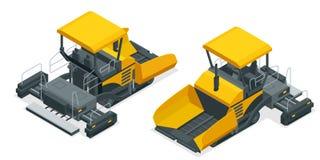Isometric Asphalt paver, asphalt spreading machine under the white background. Vector illustration.  Stock Photography