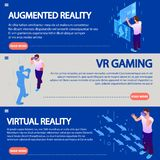 Isometric augmented reality by electronic glass virtual reality wear horizontal banners vector illustrations. Vr gaming isometric, device electronic headset vector illustration