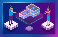 Isometric Augmented Virtual Reality for Architects royalty free illustration