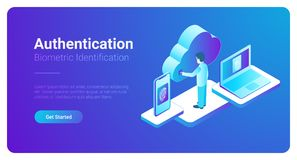 Isometric Authentication Biometric fingerprint ide. Isometric Authentication Biometric identification vector illustration. Man touches screen to get access to Stock Image