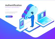 Isometric Authentication Biometric fingerprint ide. Isometric Authentication Biometric identification vector illustration. Man touches screen to get access to Stock Photos