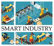Isometric Automated Factory Composition. With industrial assembly line robotic arms engineers operators control working process vector illustration royalty free illustration