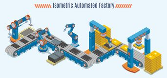 Isometric Automated Production Line Concept. With industrial conveyor belt and robotic mechanical arms isolated vector illustration Stock Image