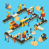 Isometric Automated Production Line Concept. With people robotic arms and industrial automatic manufacturing process vector illustration Stock Photography