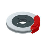 Isometric Automobile braking system. Aeration steel brake disk with perforation and red six pistons calipers and pads Stock Photo