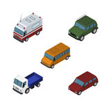 Isometric Automobile Set Of Car, Armored, First-Aid And Other Vector Objects. Also Includes Armored, Truck, Aid Elements. Isometric Automobile Set Of Car Royalty Free Stock Photo