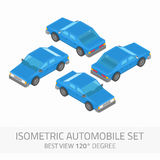 Isometric automobile set. Isometric high quality city vehicle icon set. Vector blue isometrical car with front and rear views. Set of flat 3d object automobile Royalty Free Stock Photos