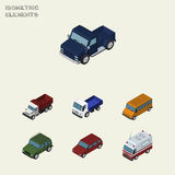 Isometric Automobile Set Of Lorry, Armored, Car And Other Vector Objects. Also Includes Auto, Suv, Freight Elements. Royalty Free Stock Image