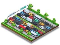 Isometric autostrada z ruchu drogowego dżemem 3d transportu wektorowy pojęcie z samochodami i ciężarówkami ilustracja wektor