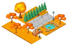 Isometric Autumn City Park Landscape Concept Royalty Free Stock Images