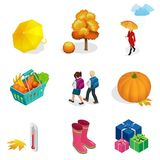 Isometric Autumn icon and objects set for design pumpkin, thermometer, woman with an umbrella in the rain, children with. School backpacks, autumn tree, rubber Royalty Free Stock Photo