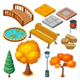 Isometric Autumn Park Landscape Icons Collection Stock Photo