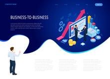 Isometric B2B sales method. Partners shaking hands. Successful entrepreneurs. Data and key performance indicators for. Business intelligence analytics royalty free illustration