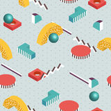 Isometric background. Seamless abstract pattern fashion 80-90s. Stock Photos