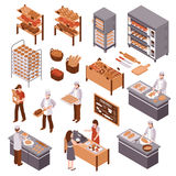 Isometric Bakery Set. Bakery isometric icons set of working bakers shelves with products buyers and seller of fresh bread behind counter vector illustration royalty free illustration