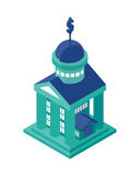 Isometric Bank Building Object or Icon - Element for Web, Tileset Map, Landscape Design, Urban Architecture Stock Photography