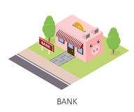 Isometric bank building pink pig on a lawn with trees Stock Image