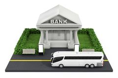 Isometric Bank Finance Building in City. 3d Rendering. Isometric Bank Finance Building in City on a white background. 3d Rendering Royalty Free Stock Photos