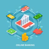 Isometric Banking Round Composition. Accounting isometric composition with conceptual icons of bank building smartphone gadgets and silhouette signs of Royalty Free Stock Images