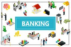 Isometric bankowości pojęcie ilustracja wektor