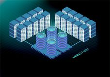 Isometric banner with bitcoin mining farm, cryptocurrency mining concept, financial isometric 3d vector. Ethereum Blockchain isome. Tric, server room rack Stock Image