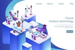 Isometric Banner Future Medical Technology in 3d vector illustration