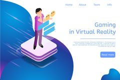 Isometric Banner Gaming in Virtual Reality in 3d. Vector Illustration Man Chat Online. Modern Technologies Future for Communication People. Computer Screen royalty free illustration