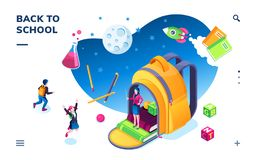 Isometric banner for school smartphone application vector illustration