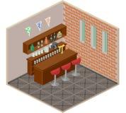 Isometric bar interior pixel art vector Royalty Free Stock Photography