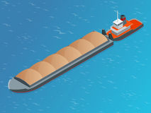 Isometric Barge on a River. Very large ship. Containerized trade, liquid bulk and dry bulk shipping. International. Shipping Royalty Free Stock Image