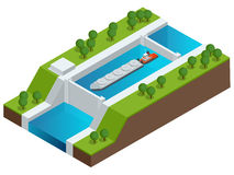 Isometric Barge on a River. Very large ship. Containerized trade, liquid bulk and dry bulk shipping. International. Shipping Royalty Free Stock Images
