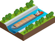 Isometric Barge on a River. Very large ship. Containerized trade, liquid bulk and dry bulk shipping. International. Shipping Royalty Free Stock Photo
