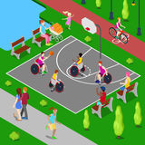 Isometric Basketball Playground. Disabled People Playing Basketball in the Park. Vector Stock Photos