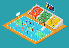 Isometric Basketball Playground with Players and Fans Stock Photography