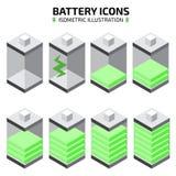 Isometric bateryjny ikona set również zwrócić corel ilustracji wektora Fotografia Royalty Free