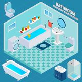 Isometric Bathroom Interior Royalty Free Stock Photo