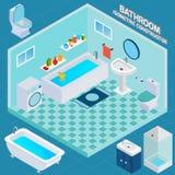 Isometric Bathroom Interior Royalty Free Stock Photo
