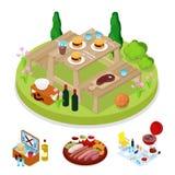 Isometric BBQ κόμμα πικ-νίκ Στρατόπεδο καλοκαιρινών διακοπών Ψημένο στη σχάρα κρέας Burgers απεικόνιση αποθεμάτων