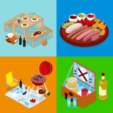 Isometric BBQ τρόφιμα πικ-νίκ Στρατόπεδο καλοκαιρινών διακοπών Ψημένα στη σχάρα κρέας, κρασί και λαχανικά διανυσματική απεικόνιση