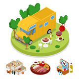 Isometric BBQ Camper Picnic Party. Summer Holiday Camp. Grilled Meat vector illustration