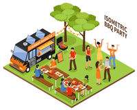 Isometric BBQ Party. At nature with eating and dancing people vehicle and grill equipment 3d vector illustration Stock Images