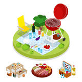 Isometric BBQ Picnic Party. Summer Holiday Camp. Grilled Meat royalty free illustration