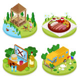 Isometric BBQ Picnic Party. Summer Holiday Camp. People in Park with Grilled Meat Stock Images