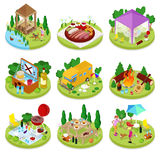 Isometric BBQ Picnic. Summer Holiday Camp. People in Park with Grilled Meat Royalty Free Stock Photography