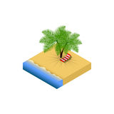 Isometric beach with chaise-longue and palm Royalty Free Stock Photos